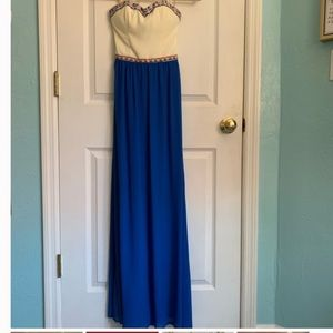 Marineblu blue strapless maxi dress